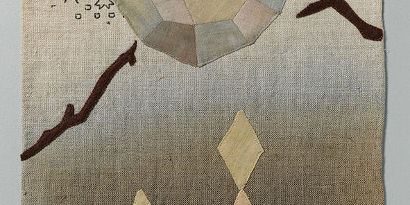 2020, Hand-dyed cotton, cotton thread and felt on hand-dyed linen