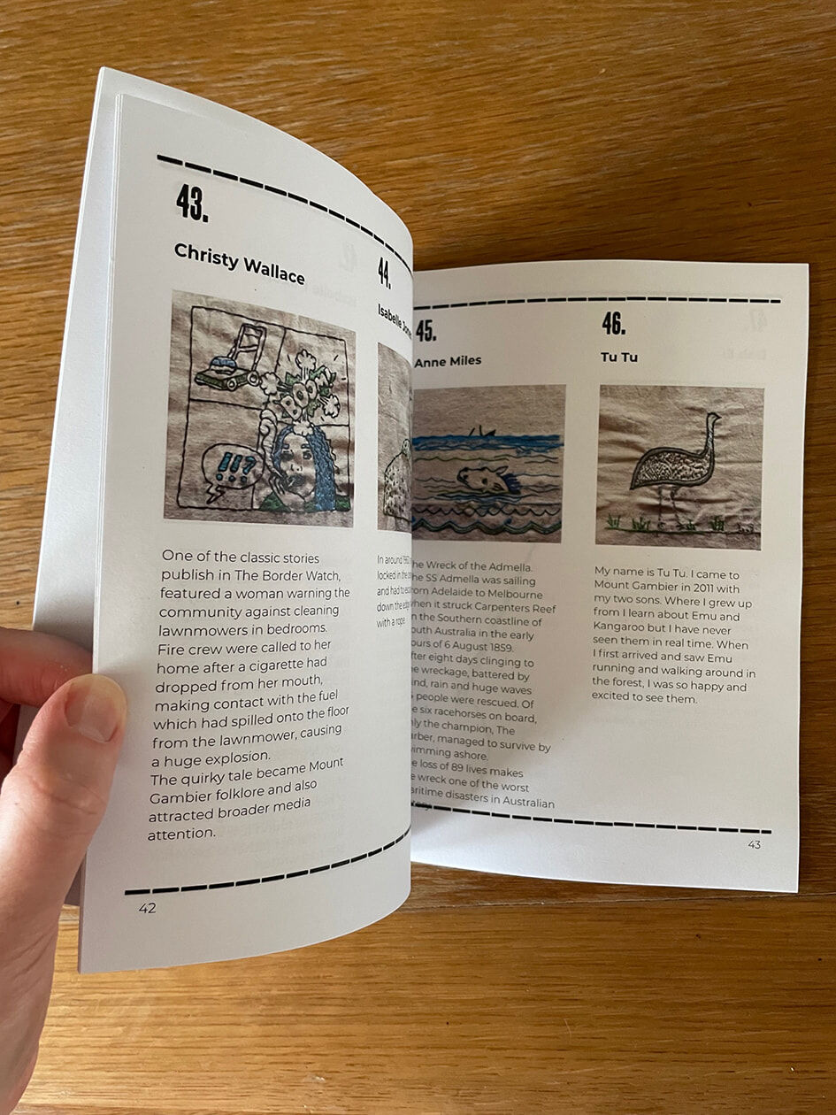 Photograph of the Telling Tales booklet opening to the artwork pages