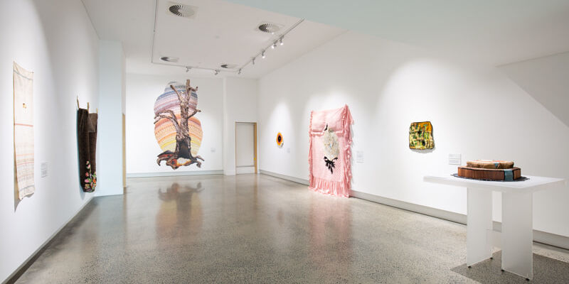 Installation image of Sera Water's exhibition Going Round in Squares at Ararat Gallery Tama.
