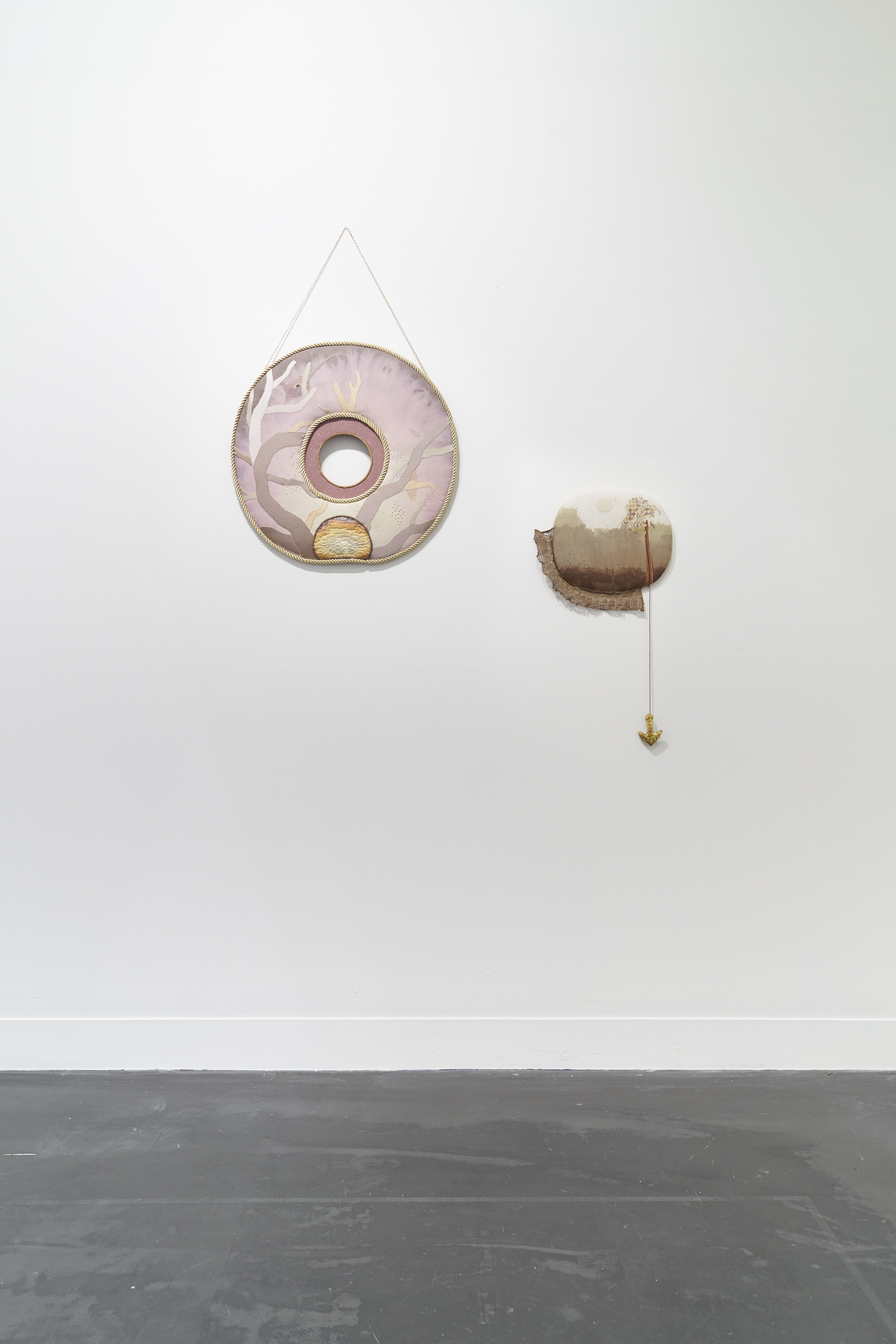 Specks by textile artist Sera Waters, installed at Hugo Michell Gallery.