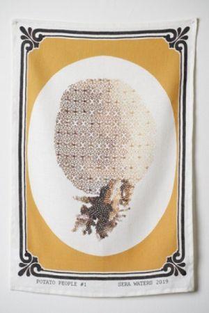 Sera Waters 'Dazzleland - Potato People #1' Tea Towel